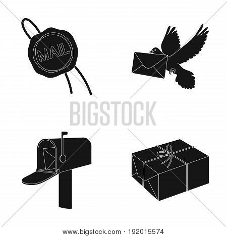 Wax seal, postal pigeon with envelope, mail box and parcel.Mail and postman set collection icons in black style vector symbol stock illustration .