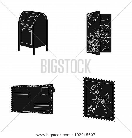 Mailbox, congratulatory card, postage stamp, envelope.Mail and postman set collection icons in black style vector symbol stock illustration .