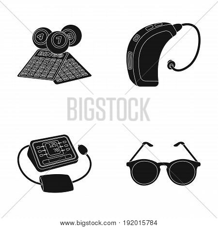 Lottery, hearing aid, tonometer, glasses.Old age set collection icons in black style vector symbol stock illustration .