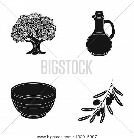 An olive tree, a branch with olives, a vessel and a jug of oil. Olives set collection icons in black style vector symbol stock illustration .