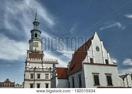 Old market with Renaissance town hall tower in Poznan