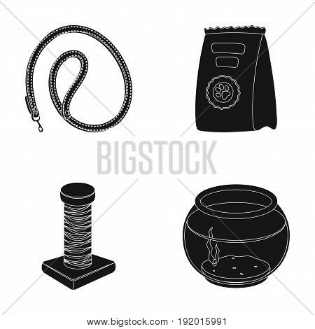 Leash, feed and other zoo store products.Pet shop set collection icons in black style vector symbol stock illustration web.