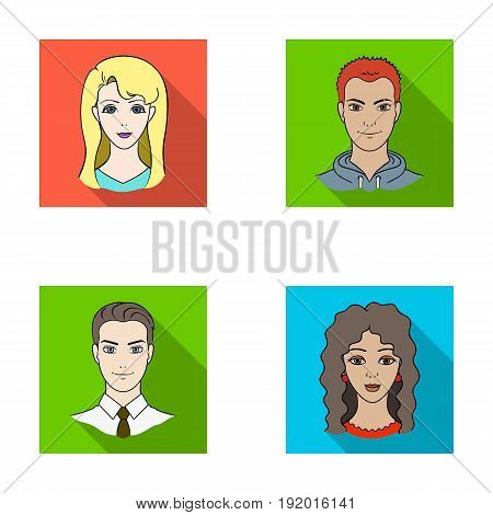 Different looks of young people.Avatar and face set collection icons in flat style vector symbol stock illustration .