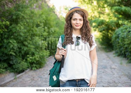 Girl Have Trip To European Old City
