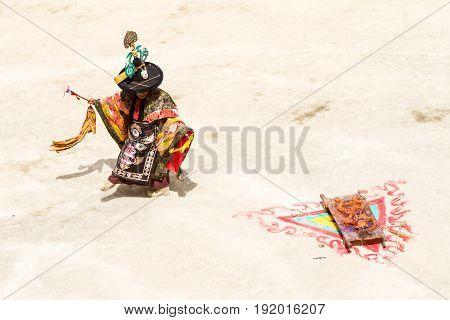 Lamayuru India - June 17 2012: monk performs sacred costumed mystery