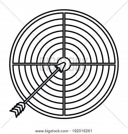 white background with monochrome silhouette of arrow on target vector illustration