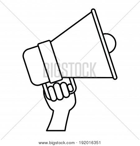 white background with monochrome silhouette of hand holding bullhorn vector illustration