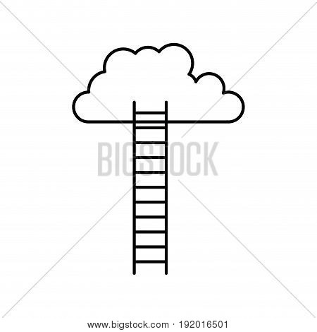 white background with monochrome silhouette of ladder to cloud vector illustration