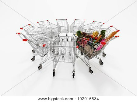 One Full Shopping Cart Among Empty Shopping Carts. 3D Illustration.