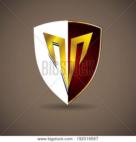 red Letter T crest shield emblem logo. Alphabet logotype vector design.