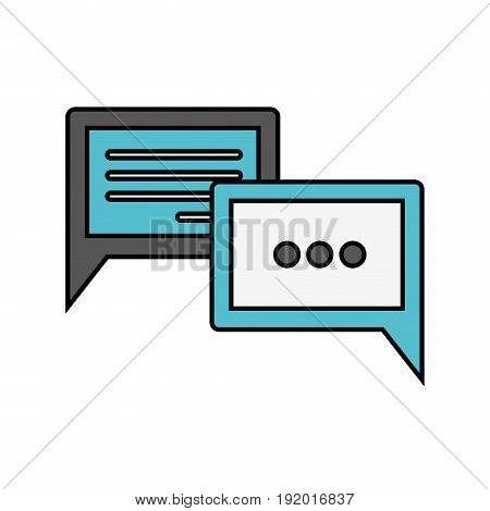 white background with colorful silhouette of speech dialogues with thick contour vector illustration