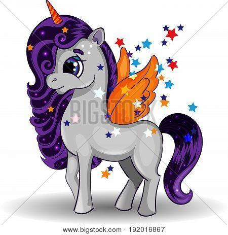Unicorn Pony Character with Orange Wings and Big Eyes on White Background, Multicolor, Vector Illustration EPS 10