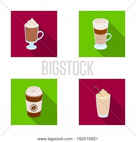 Mocha, macchiato, frappe, take coffee.Different types of coffee set collection icons in flat style vector symbol stock illustration .