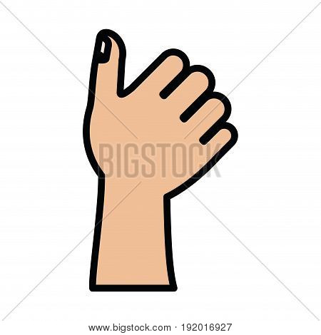 white background with colorful silhouette of right hand thumb up with thick contour vector illustration