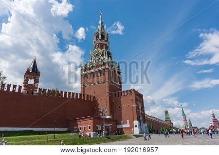 Russia, Moscow, June 8, 2017: Spasskaya Tower. Red Square
