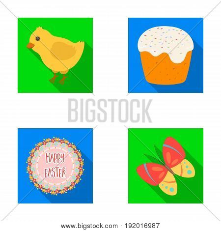 Easter cake, chicken, butterfly and greeting sign.Easter set collection icons in flat style vector symbol stock illustration .