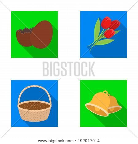 Chocolate egg, bells, basket and flowers.Easter set collection icons in flat style vector symbol stock illustration .