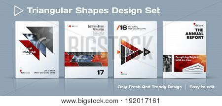 Abstract business design, annual report, vector template brochure. Cover modern layout, flyer in A4 with colourful sharp triangular shapes for finance, corporate with light background. Big set.
