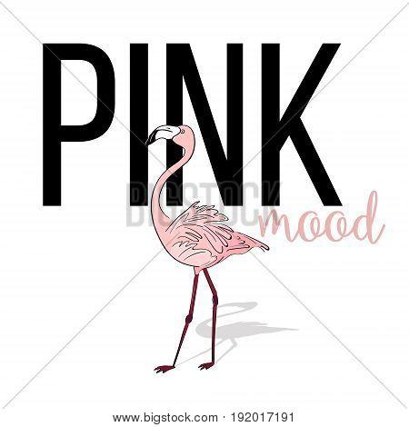 Pink mood flamingo design. Vector pink exotic bird. Summer tropical card. Cute cartoon zoo island animal.