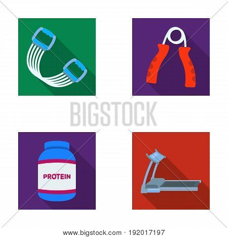 Protein, expander and other equipment for training.Gym and workout set collection icons in flat style vector symbol stock illustration .