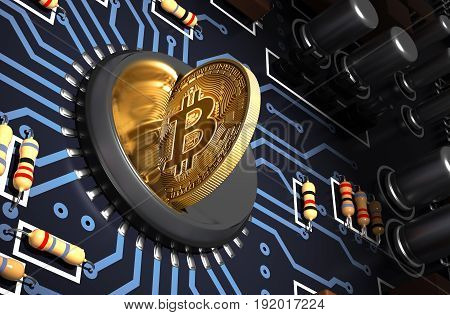 Putting Bitcoin Into Coin Slot On Blue Motherboard And Creating Heart Shape With Reflection. 3D Illustration.