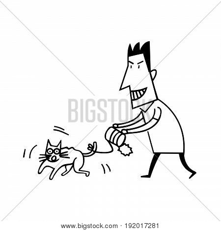 Animal Abuse by Human. cartoon Vector Illustration design