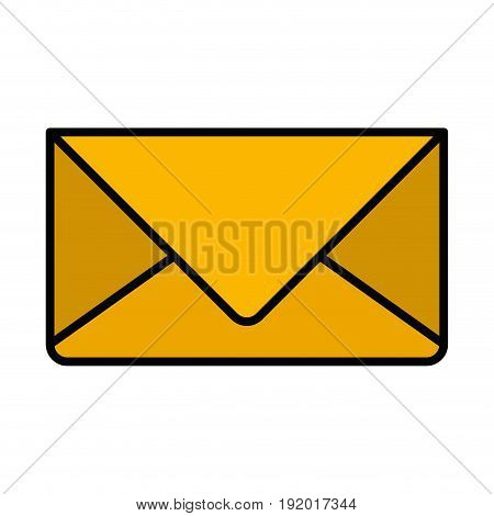 white background with colorful silhouette of envelope mail in closeup with thick contour vector illustration
