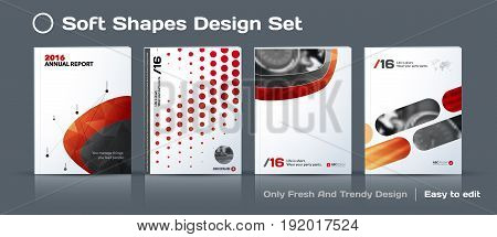 Abstract business design, annual report, vector template brochure. Cover modern layout, flyer in A4 with colourful soft shapes for startup, technology with light background. Mega set.