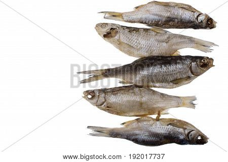 Five Dried Salted Roach Fish On A Isolated White Background