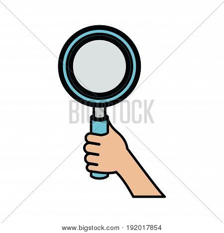 white background with colorful hand holding magnifying glass with thick contour vector illustration