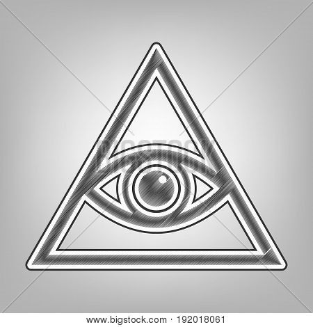 All seeing eye pyramid symbol. Freemason and spiritual. Vector. Pencil sketch imitation. Dark gray scribble icon with dark gray outer contour at gray background.