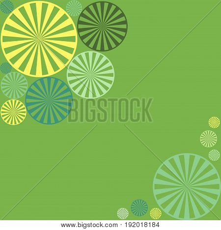 Abstract geometric vector background with circle shapes like lemon slices good for invitation design green yellow turquoise teal colors