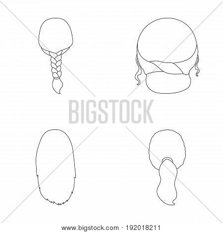 Light braid, fish tail and other types of hairstyles. Back hairstyle set collection icons in outline style vector symbol stock illustration .