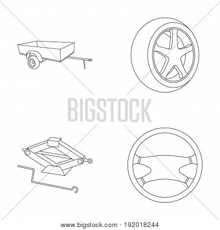 Caravan, wheel with tire cover, mechanical jack, steering wheel, Car set collection icons in outline style vector symbol stock illustration.