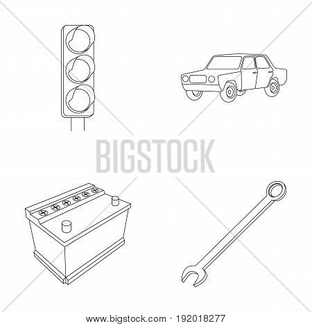 Traffic light, old car, battery, wrench, Car set collection icons in outline style vector symbol stock illustration .
