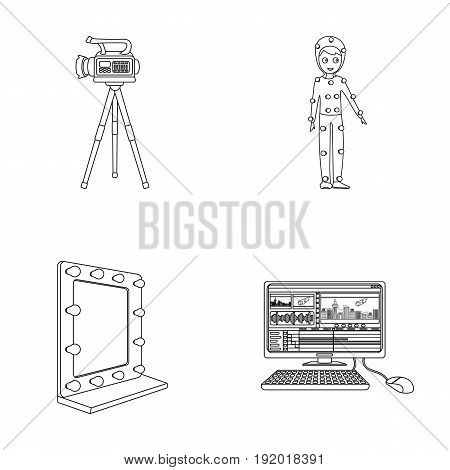A movie camera, a suit for special effects and other equipment. Making movies set collection icons in outline style vector symbol stock illustration .