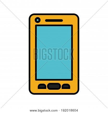 white background with yellow cover on smartphone with thick contour vector illustration