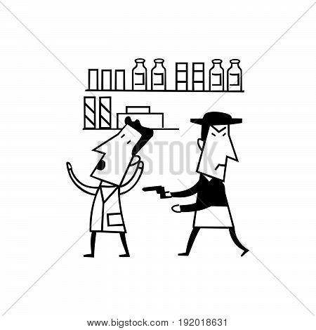 robber gun cartoon. outlined cartoon handrawn sketch illustration vector. crime illustration