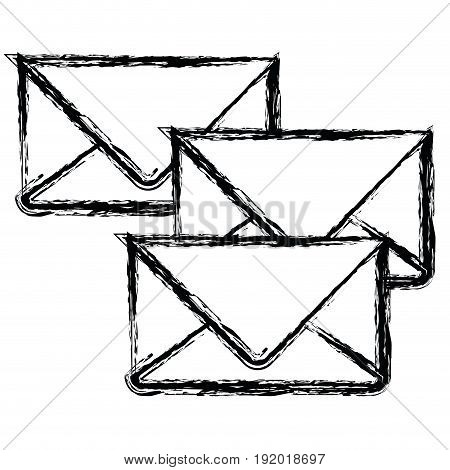 white background with monochrome blurred set of envelopes of mail vector illustration