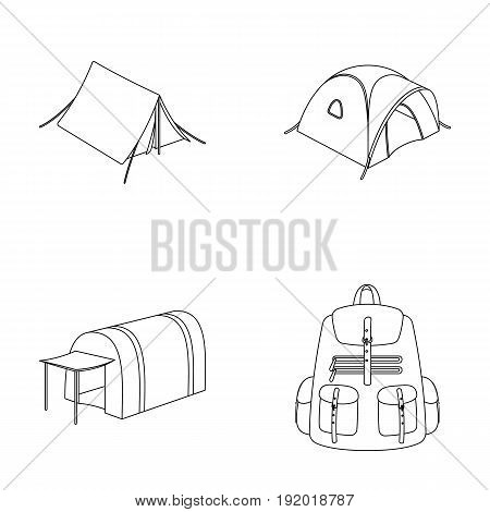 Backpack and other kinds of tents.Tent set collection icons in outline style vector symbol stock illustration .
