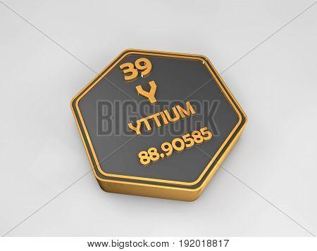 yttium - Y - chemical element periodic table hexagonal shape 3d render