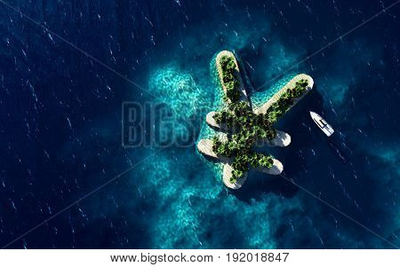 Success way. Tropical island in the form of the Yen currency symbol 3D Illustration