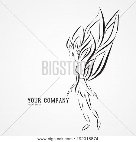 Angel butterfly logo vector illustration queen drawing outline icon vintage cosmetic cartoon