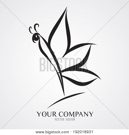 butterfly vector illustration logo design icon vintage cosmetic cartoon drawing