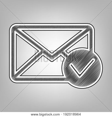 Mail sign illustration with allow mark. Vector. Pencil sketch imitation. Dark gray scribble icon with dark gray outer contour at gray background.