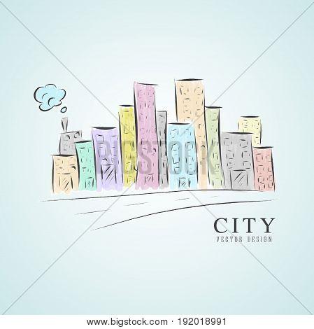 City vector illustration home, exterior, landscape, cityscape, coporate
