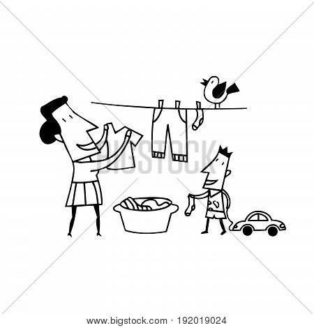 mom clothes drying. outlined cartoon handrawn sketch illustration vector.
