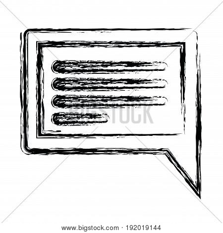 white background with monochrome blurred silhouette rectangular dialogue in closeup vector illustration