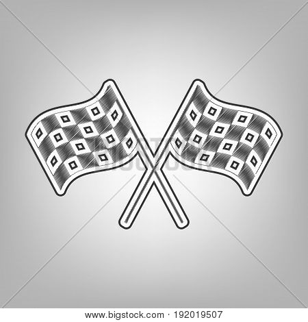 Crossed checkered flags logo waving in the wind conceptual of motor sport. Vector. Pencil sketch imitation. Dark gray scribble icon with dark gray outer contour at gray background.
