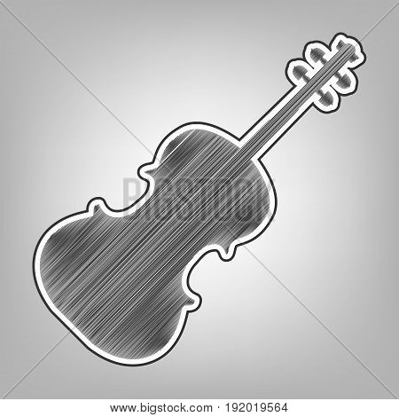 Violin sign illustration. Vector. Pencil sketch imitation. Dark gray scribble icon with dark gray outer contour at gray background.